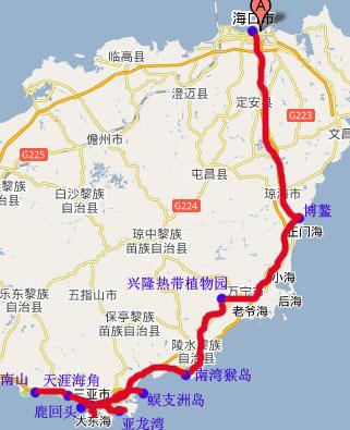 北京到海南地图