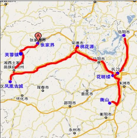 湖南凤凰至常德地图
