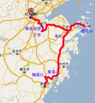 宁波到北京地图